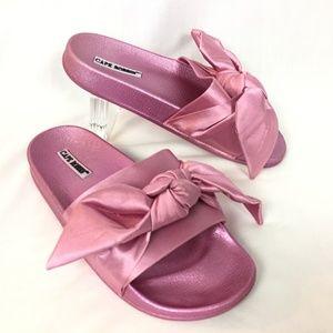 Cape Robbin Pink Satin Bow Slides Sandals Size 7